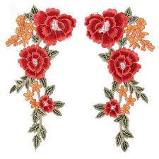 1Pair Parche bordado flor etiqueta remiendos costura Parches Decoración Ropa  hg