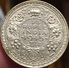 British India 1945 1/4 Rupee Bombay Mint Silver Coin - Brilliant UNC - See Pics