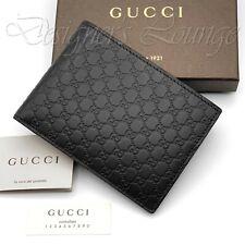 NIB GUCCI MicroGuccissima Men's Bifold Wallet Dark Brown GG Leather Authentic