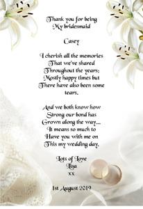 Wedding Day Thank You Gift, Bridesmaid Poem A5 Photo