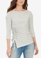 William Rast Women's Medium Gray And White Striped Tie 3/4 Sleeve Top NEW #31