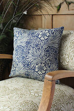 "William Morris 16"" Cushion Cover Marigold Indigo Backed with Velvet"