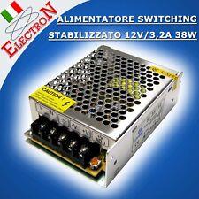 ALIMENTATORE SWITCHING UNIVERSALE STABILIZZATO 12V / 3,2A 38W TRASFORMATORE LED