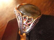 prächtig verzierter vintage Designer Ring Labradorit 925er Silber 17,3 mm RG 55