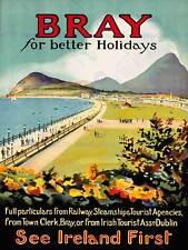 TRAVEL BRAY IRELAND PROMENADE SEA MOUNTAIN HOLIDAY ART PRINT POSTER BB7460B