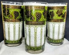 New listing 7 Cera Drinking Glasses Lot 7 Gold Trim Grape Leafs 12 oz Green 1960's Columns