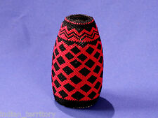 Paiute Indian Beaded Glassware: Large Black and Red Jar