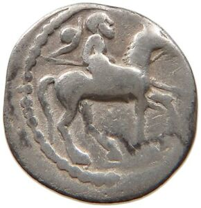 ANCIENT GREECE SILVER HORSE RIDER WITH SPER / SITTING FIGURE 13MM 1.3G #t88 167