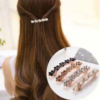 Women Elegant Shine Barrettes Hair Clip Crystal Pearl Hairpin Barrette Headdress