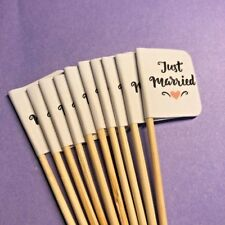 10 x JUST MARRIED WEDDING CUP CAKE FLAG Pick Topper