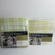 Sears Toughcord Plaid Jungle Green Throw-Style Bedspread and Pillow Sham Vintage