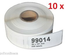 10 Pack Top Quality DYMO SEIKO 99014 COMPATIBLE Address Labels  55mm X 101mm