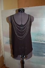 Club Monaco Black Silk See-through Sleeveless Top Shirt Size S/P