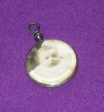 ANTIQUE 1913 STERLING SILVER DOUBLE SIDED PHOTO LOCKET PENDANT ALBERT CHAIN FOB