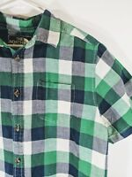 The North Face Men's Green Blue Plaid Short Sleeve Outdoor Camping Shirt Large