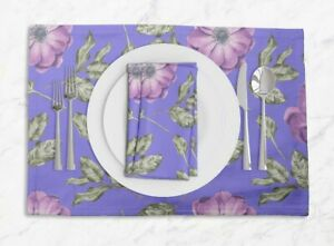 S4Sassy Anemone & Camellia Floral Room Tablemats With Napkins set-FL-861B