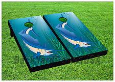 Cornhole Beanbag Toss Game w Bags Game Boards Swordfish Fish Ocean Sea Set 919
