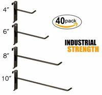 """Black Gridwall Hooks Combo Pack of 20 Assorted 5 ea 4"""",6"""",8"""" &10"""""""