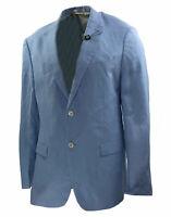 Lauren Ralph Lauren Men's Ultraflex Two Button Linen Blazer Blue Size 44 Long