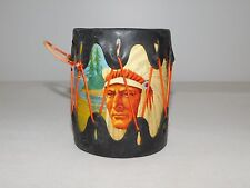 "VINTAGE TOY 4"" HIGH INDIAN CHIEF CANOE DRUM"