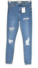 Topshop JAMIE Super Skinny High Rise Blue Ripped Stretch Jeans Size 12 W30 L34