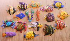 LARGE HANDPAINTED SET OF 17 FISH, CRAB, TURTLE & LOBSTER METAL ART WALL HANGINGS