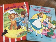 Uncut Whitman paper doll book lot Wizard of Oz and Alice in Wonderland