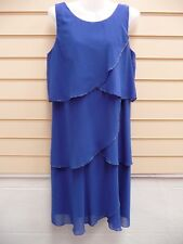 DRESS BLUE SIZE 14 BEAD TRIM DETAIL SLEEVELESS BNWT  (A001