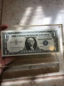 Uncirculated Series 1957A  Crisp Dollar Bill MINT IN GLASS