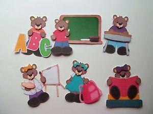 3D-U Pick - SG6 School Bears Boy Girl Apple Paint Card Scrapbook Embellishment