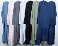 Ladies Italian Lagenlook Quirky Boho Soft Cord Panel & Large Pocket Tunic Dress