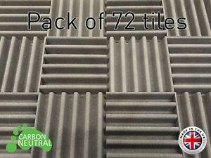 72 Pack Acoustic foam tiles UK made carbon neutral Soundproofing Studio foam