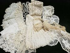 14 Big Vintage Antique Hand Crocheted Doily Tablecloth Cream White Shades Crafts
