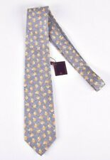 ISAIA NWT Silk Neck Tie In Light Gray With Yellow & White Current 7 Fold