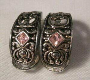 Premier Designs Latch Back Silver Earrings with Pink Stones