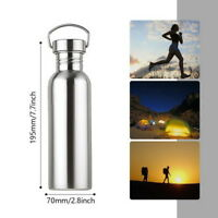 outdoor Double Wall Vacuum Insulated Thermo Water Bottle Mug Cup Stainless Steel