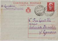 ITALY 1947 LIEUTENANCY 3L POSTAL STATIONERY COVER TO GENOVA