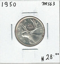 Canada 1950 Silver 25 Cents MS63