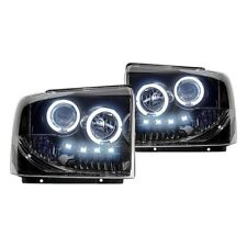 Recon Black/Smoke Halo Projector Headlights w/LED DRL for 05-07 F250/350/450/550