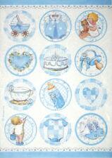 Rice Paper for Decoupage Scrapbook Craft Sheet - Baby boy round