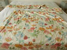 "Vtg Hardy Fabrics Screen Print Carnations Pair of Curtains & Pelmet 53""w x 48""d"