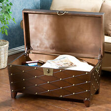 Coffee Table With Lift Top Storage Trunk Nailhead Living Room Cocktail Furniture