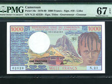 Cameroun:P-16c,1000 Francs,1978-80 * CAMEROON * PMG Superb Gem UNC 67 EPQ *