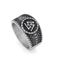316L stainless steel Nordic norse viking valknut rune amulet ring with gift bag