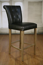 Bar Stool Oak Leather Upholstered French Provincial Furniture Barstool NEW