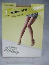 """Gipsy 7 Denier Luxury Italian Leg Wear Natural Glow Open Toe Tights 34"""" 42"""" Hip"""