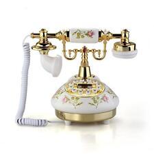 Telefono Fisso Antico Vintage Ceramica Beige Oro Perfetto per Ufficio Casa Antic