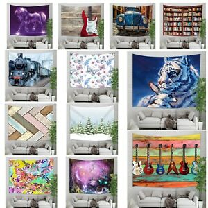 Fantasy Tapestry Animal Tiger Butterfly Art Wall Hanging Blanket for Home Decor