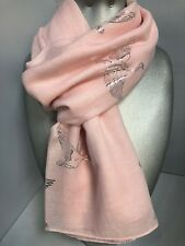 Ladies Pastel Pink Scarf with Silver Foil Swans metallic bird swan NEW gift soft