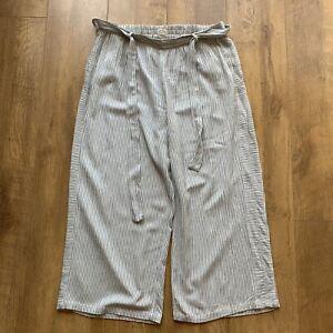 FAT FACE Striped Cotton Blend Trousers Size UK 14 Cropped Wide Leg L23